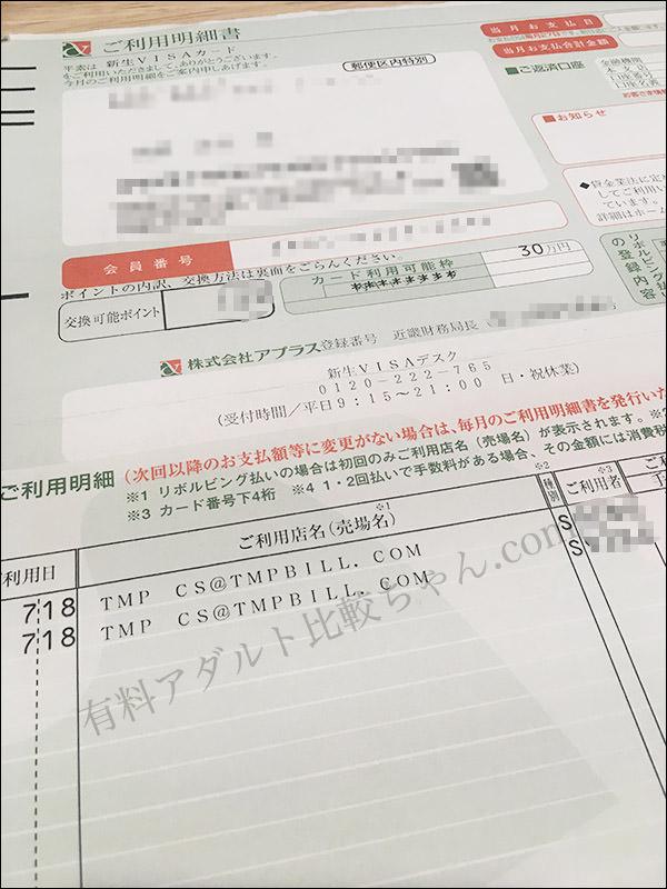 不正請求検証のため新生銀行のVISAカードで決済を行っています。